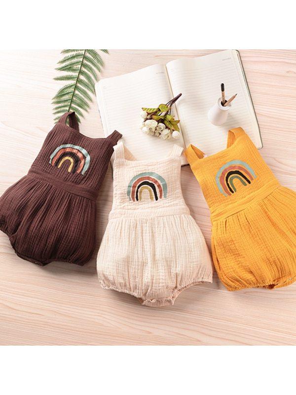 【6M-3Y】Baby Fashion Rainbow Print Romper