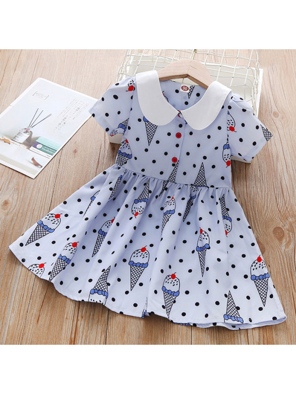 【18M-7Y】Cute Polka Dot and Ice Cream Print Light Blue Dress