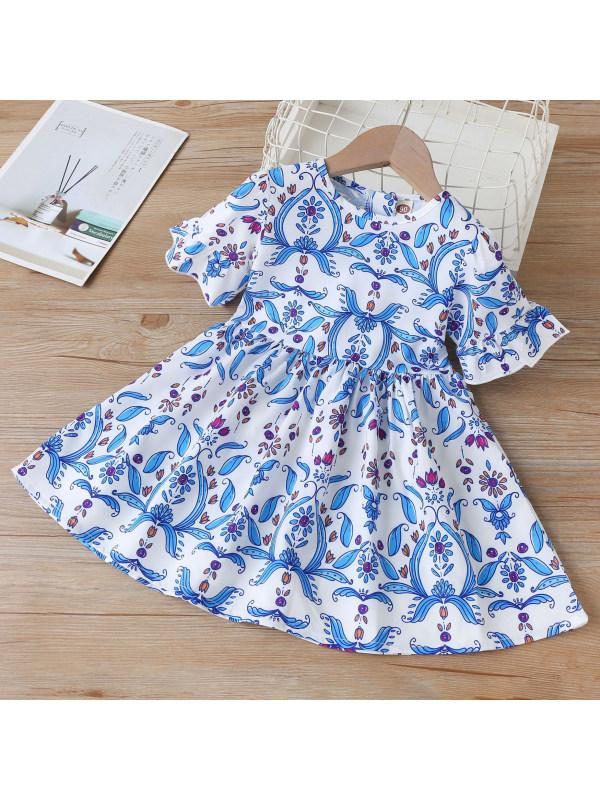 【18M-7Y】Sweet Blue Print Round Neck Short Sleeve Dress