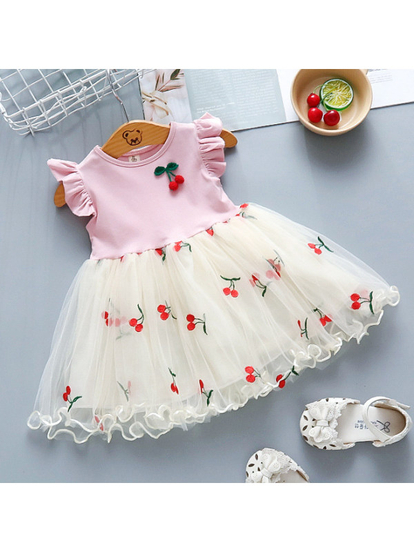 【12M-5Y】Sweet Cherry Embroidery Round Neck Mesh Dress