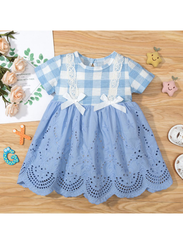 【3M-18M】Baby Girl Blue Plaid Lace Embroidered Short Sleeve Dress
