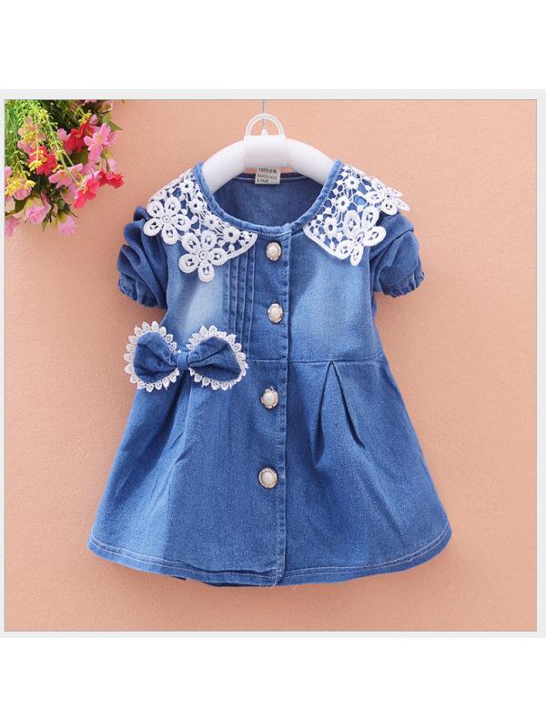 【12M-4Y】Cute Lace Bowknot Round Neck Short Sleeve Blue Denim Dress
