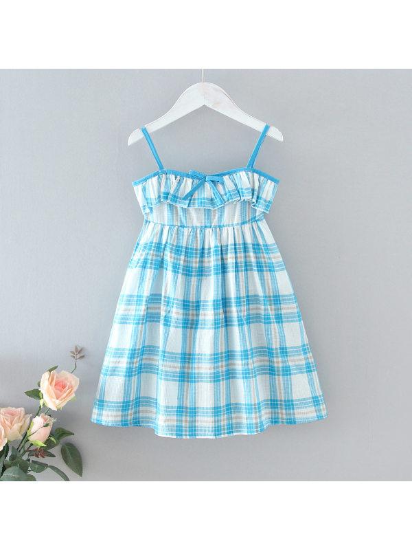 【18M-7Y】Sweet Blue Plaid Print Sling Dress