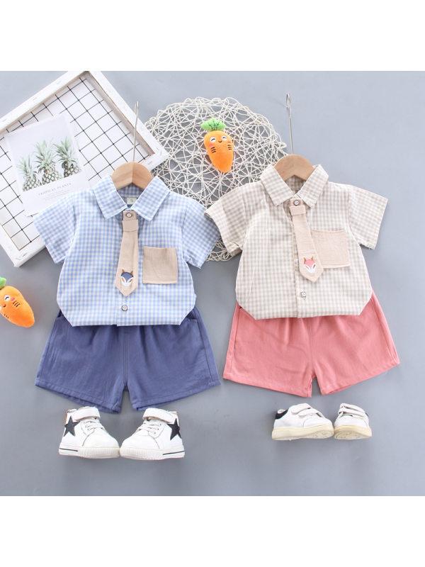 【12M-4Y】Boys Fashion Plaid Tie Shirt Shorts Set
