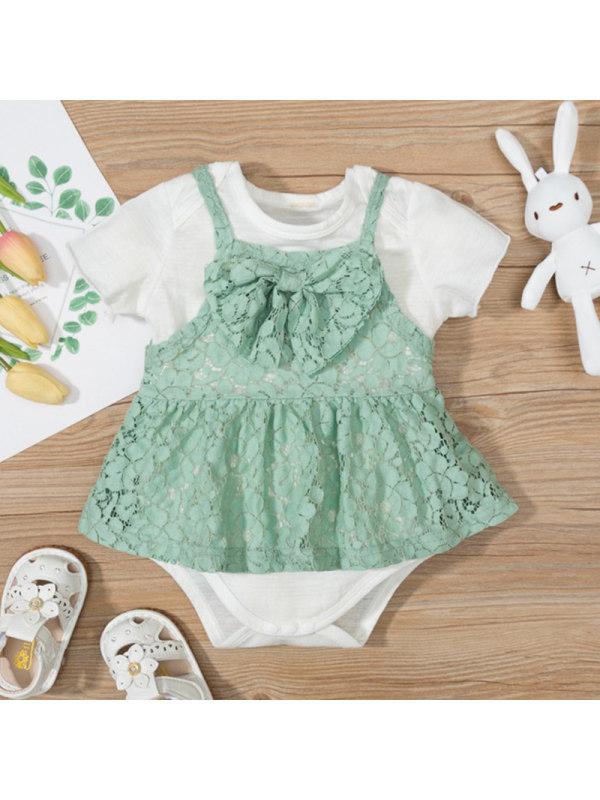 【3M-18M】Baby Girl White Short Sleeve Romper Green Lace Dress Set