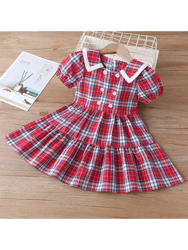 【18M-7Y】Sweet Red Plaid Puff Sleeve Short Dress - 3364