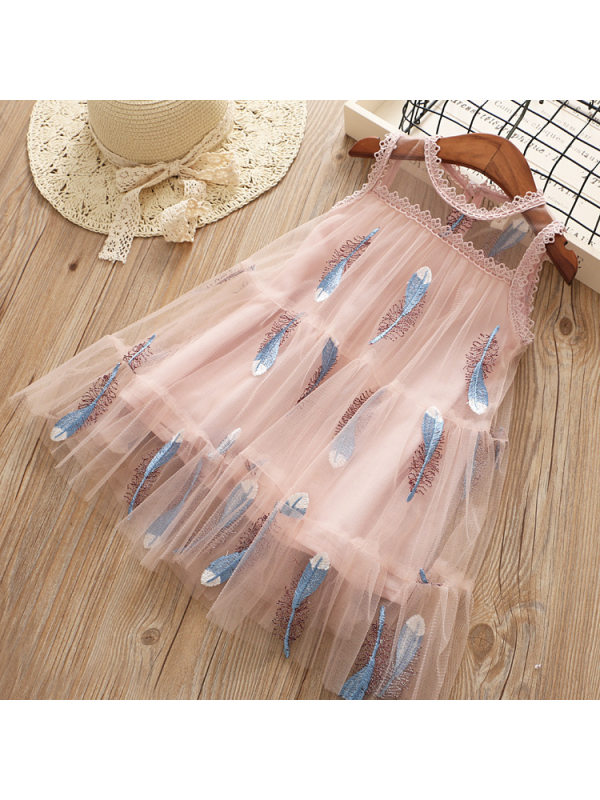 【18M-7Y】Girls Sweet Feather Embroidered Mesh Sleeveless Dress