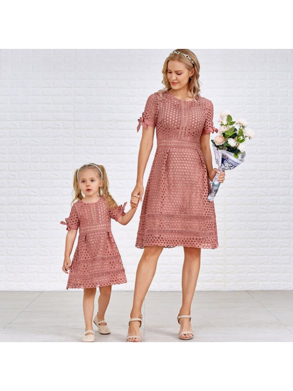Pure Color Hollow Out Short Sleeve Mom Girl Matching Dress - 1357