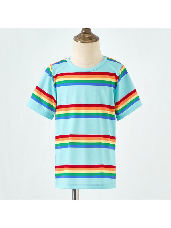 【18M-7Y】Boys Blue Striped Short Sleeve T-shirt