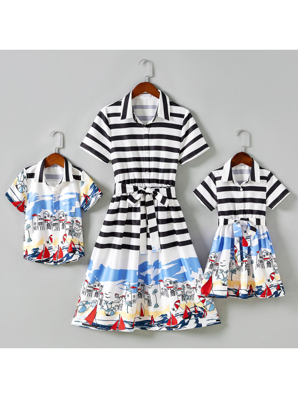 Fashion Striped Beach Pattern Short Sleeves Mom Kid Matching Outfits