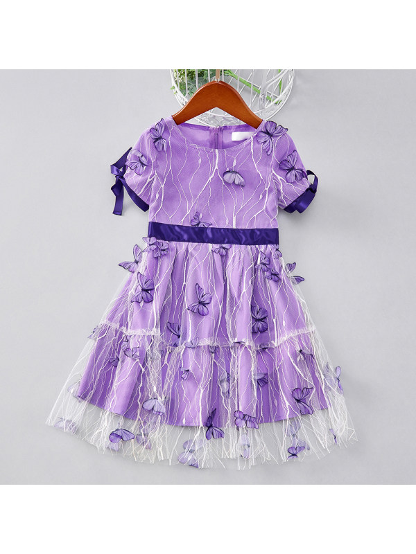 【18M-7Y】Girl Sweet Purple Butterfly Embroidered Short Sleeve Dress