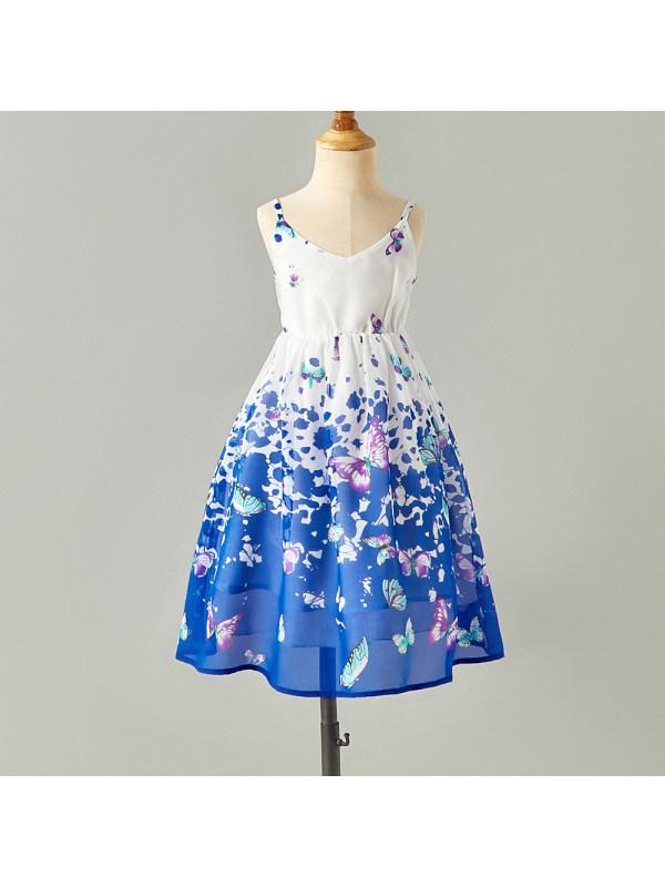 【18M-7Y】Girl Sweet Blue Butterfly Pattern Sling Dress