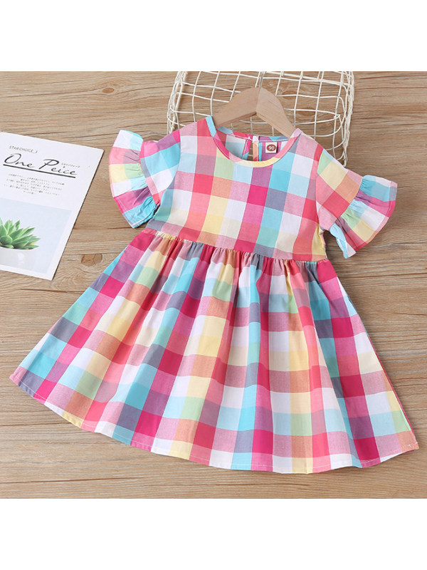 【18M-7Y】Sweet Color Check Round Neck Short Sleeve Dress