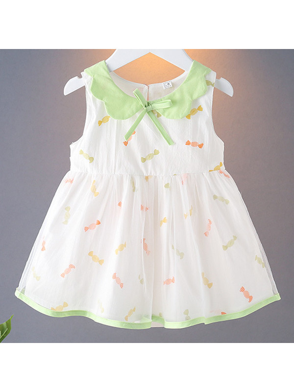 【12M-4Y】Girls Doll Collar Floral Print Dress