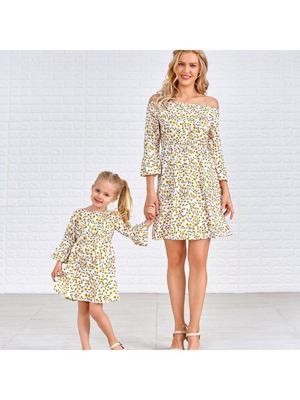 Casual Floral Printed Bracelet Sleeve Mom Girl Matching Dress