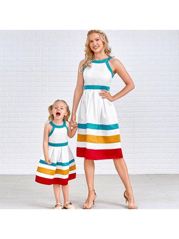 Color Striped Sleeveless Halter Mom Girl Matching Dress