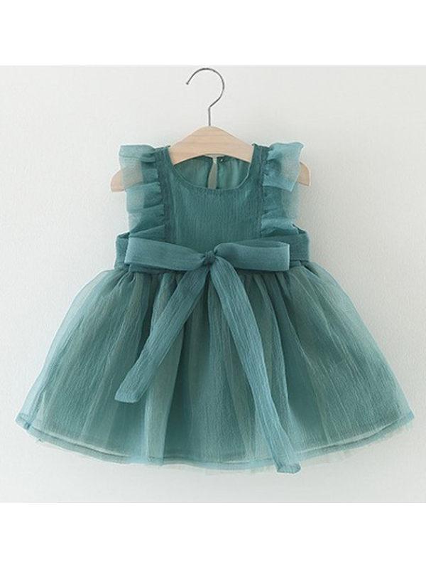 【6M-3Y】Girls Sweet Sleeveless Crew Neck Lace Bow Mesh Dress - 33101