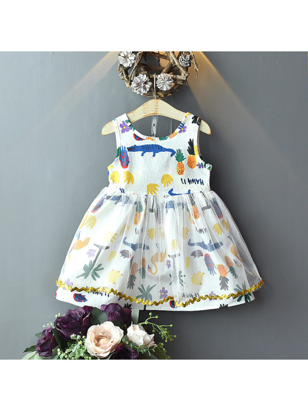 【18M-9Y】Girls Sweet Cute Graffiti Printed Mesh Sleeveless Dress