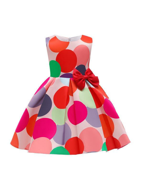 【2Y-10Y】Girls Sweet Red Polka Dot Bow Sleeveless Princess Dress - 3360
