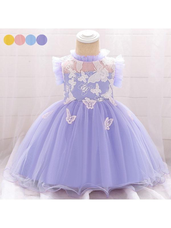 【3M-24M】Girls Butterfly Embroidered Princess Dress Birthday Dress