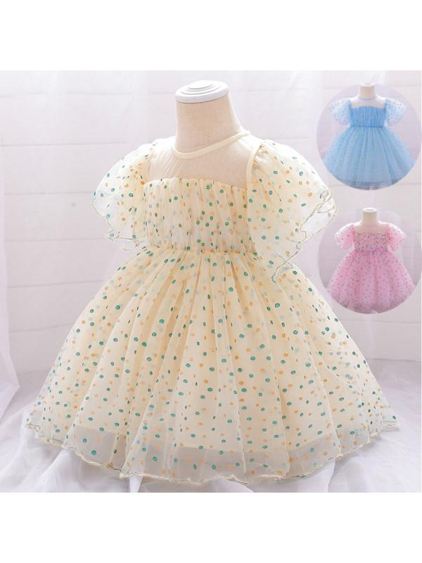 【6M-24M】Girls Mesh Polka Dot Bronzing Princess Dress Birthday Dress