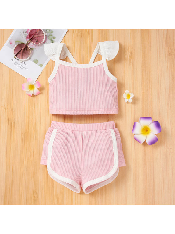 【0M-18M】Baby Girl Fashion Casual Camisole Top Shorts Suit