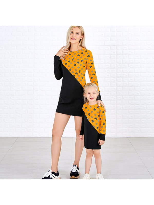Casual Round Neck Long Sleeve Contrasting Color Mom Girl Matching Dress