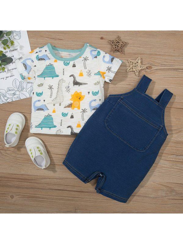 【3M-18M】Baby Cute Dinosaur Print Short-sleeved T-shirt Overalls Suit