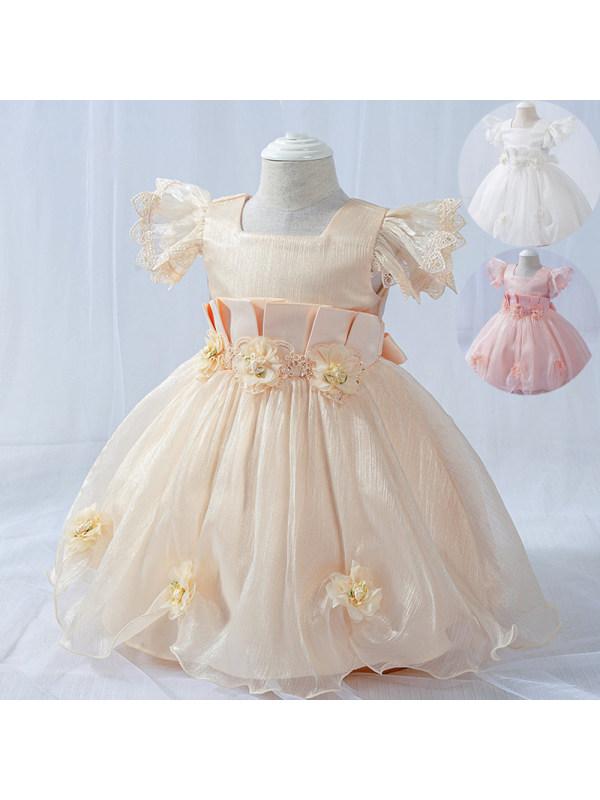 【6M-24M】Girls Mesh Flower Dress Princess Dress Birthday Dress