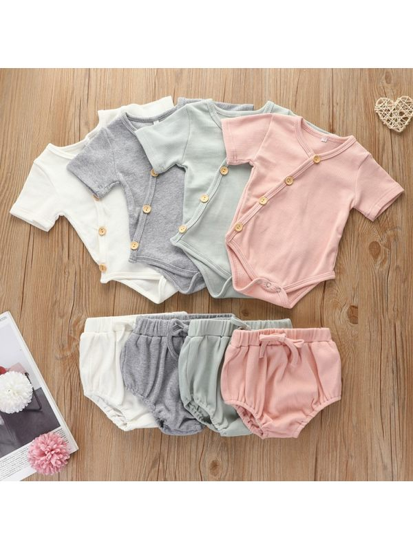 【0M-24M】Baby Girl Casual Comfortable Short-sleeved Romper Suit