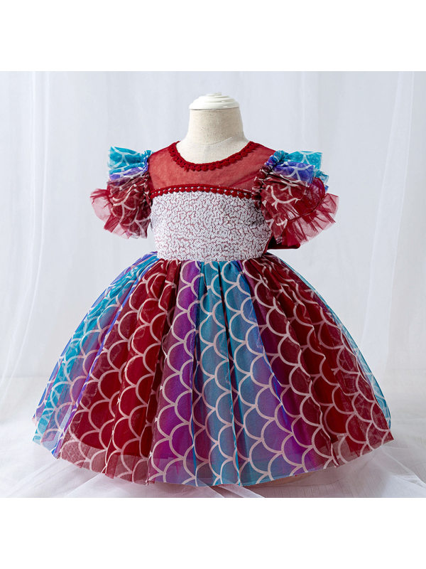 【6M-24M】Girls Mesh Sequined Puffy Princess Dress Birthday Dress