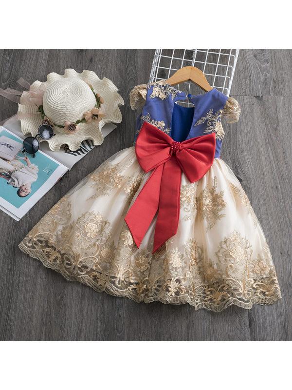 【18M-7Y】Girls Sweet Mesh Stitching Embroidery Bow Princess Dress