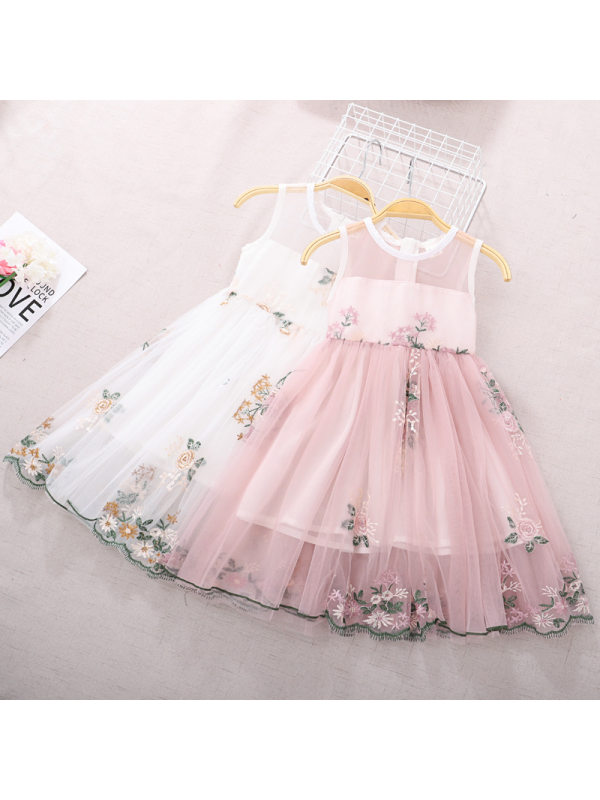 【3Y-11Y】Girls Sweet Mesh Embroidered Sleeveless Dress