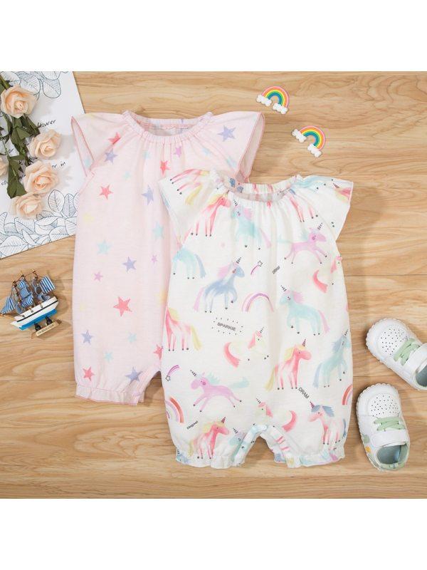 【0M-18M】Baby Girl Sweet Unicorn Print Short Sleeve Romper Two Piece Set