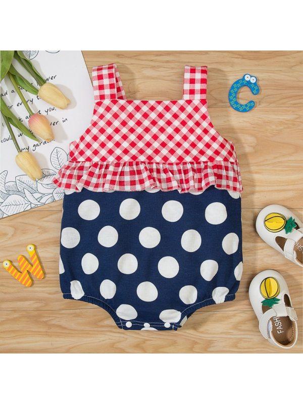 【6M-24M】Baby Girls Plaid Polka Dot Stitching Sleeveless Romper