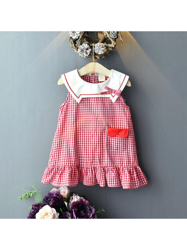 【18M-7Y】Girls Sweet Classic Plaid Lapel Sleeveless Dress
