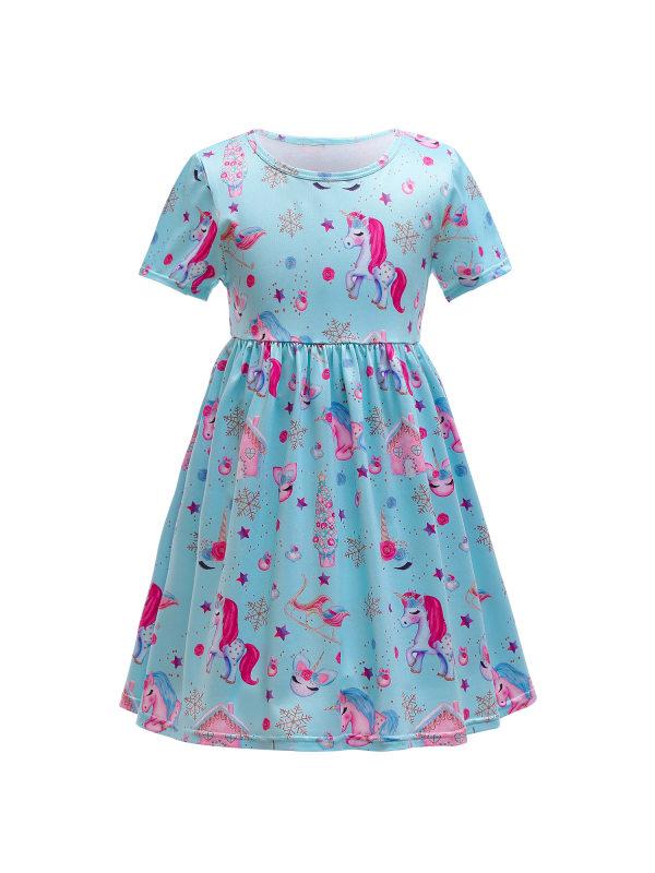 【18M-7Y】Girls Cartoon Full Print Round Neck Short Sleeve Dress