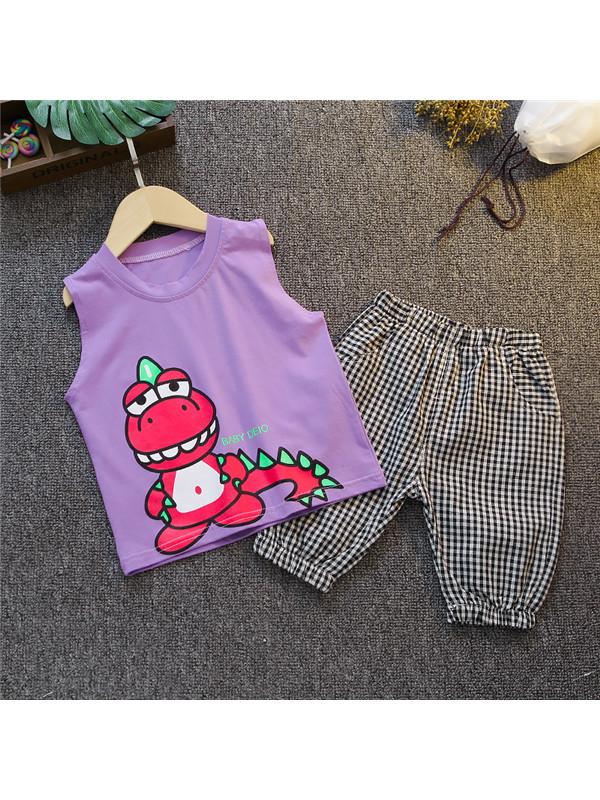 【12M-7Y】Boys Cartoon Dinosaur Print Vest Suit