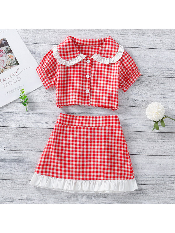 【18M-7Y】Sweet Red Plaid Shirt And Skirt Set