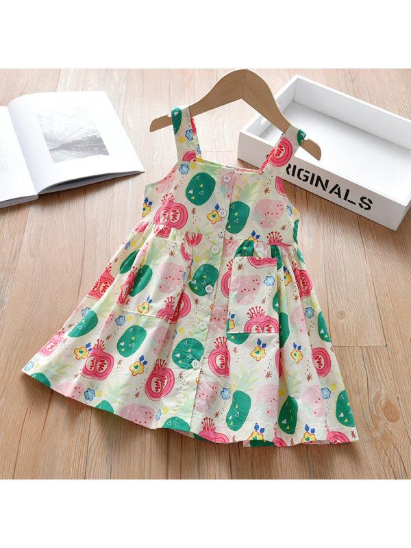 【18M-7Y】Girls Sweet Fruit Pattern Sling Dress