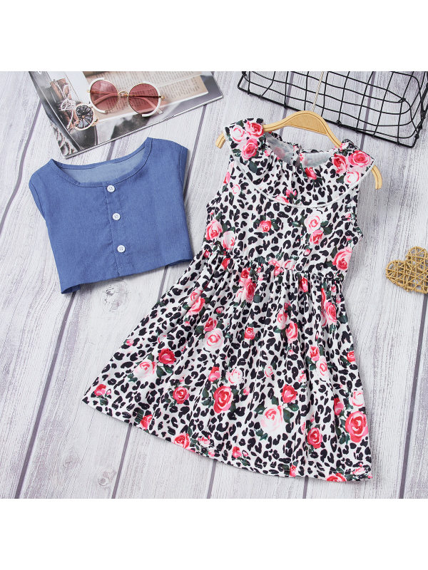 【18M-6Y】Sweet Floral Print Sleeveless Dress And Blue Top Set
