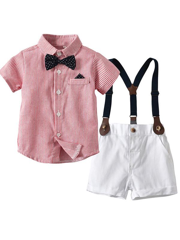 【6M-7Y】Boys Striped Bow Tie Gentleman Suit - 4403