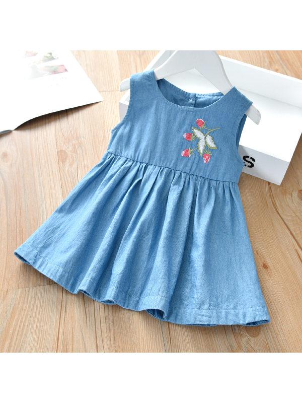 【18M-7Y】Girls Sweet Denim Embroidered Sleeveless Dress