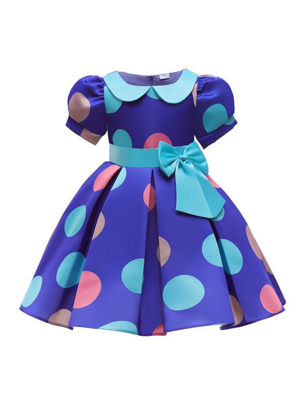 【2Y-10Y】Girls Sweet Blue Polka Dot Lapel Puff Sleeve Princess Dress - 3359