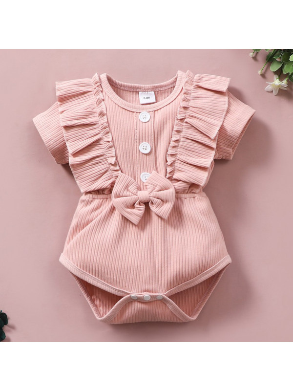 【0M-18M】Cute Bow Round Neck Short Sleeve Pink Romper