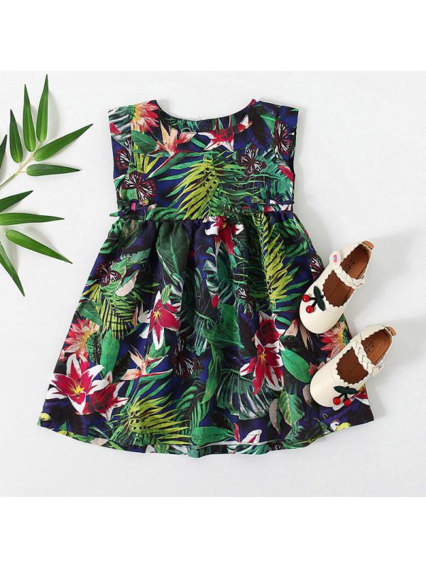 【12M-5Y】Sweet Floral Print Round Neck Sleeveless Green Dress