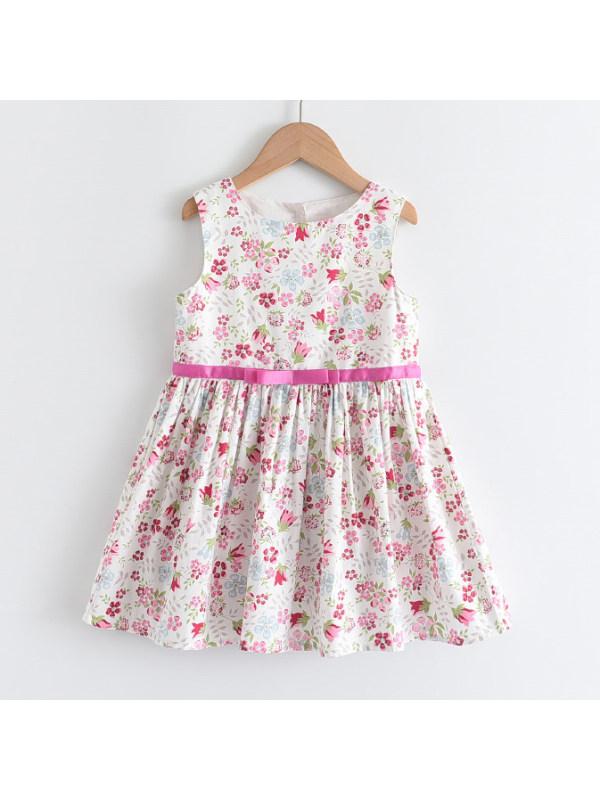【2Y-9Y】Sweet Flower Print Sleeveless Short Dress