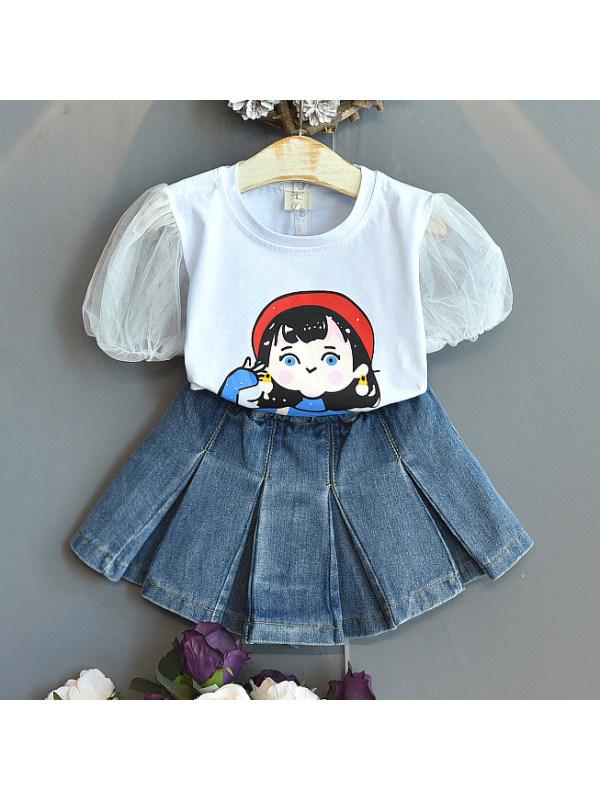 【2Y-9Y】Cute Cartoon Print Round Neck White T-shirt And Denim Skirt Set
