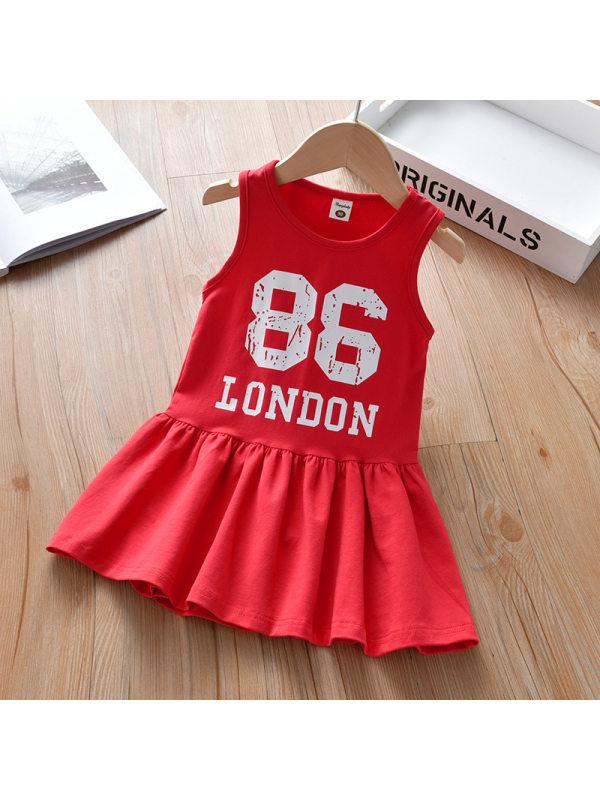 【18M-7Y】Girls Sweet Red Letter Print Sleeveless Dress