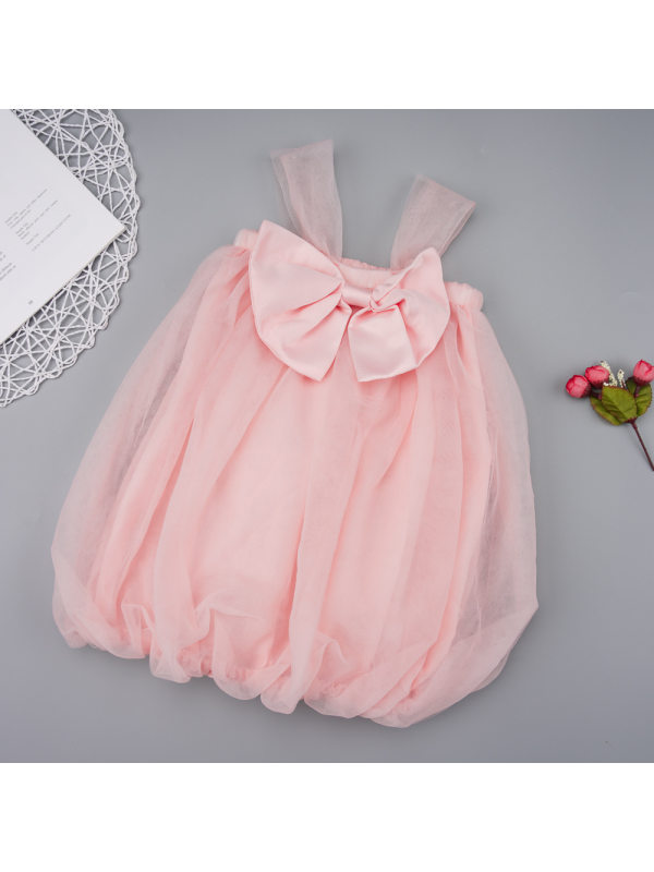 【18M-7Y】Girls Sweet Pink Mesh Bow Sleeveless Dress